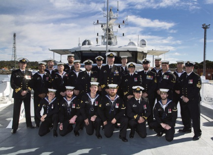 The crew of the ADV Cape Inscription at HMAS Stirling on Tuesday. Picture: Chief Petty Officer Damian Pawlenko.