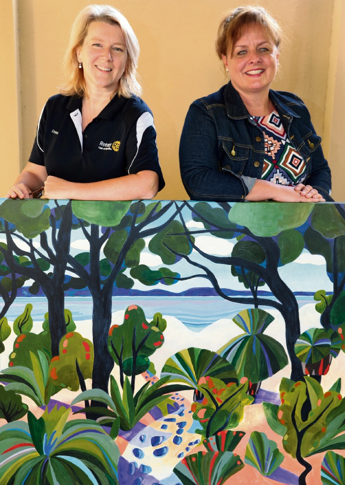 Melville Rotary Club's Emma Dannemiller and artist Gina Blakemore . Picture: Martin Kennealey �������www.communitypix.com.au   d469838