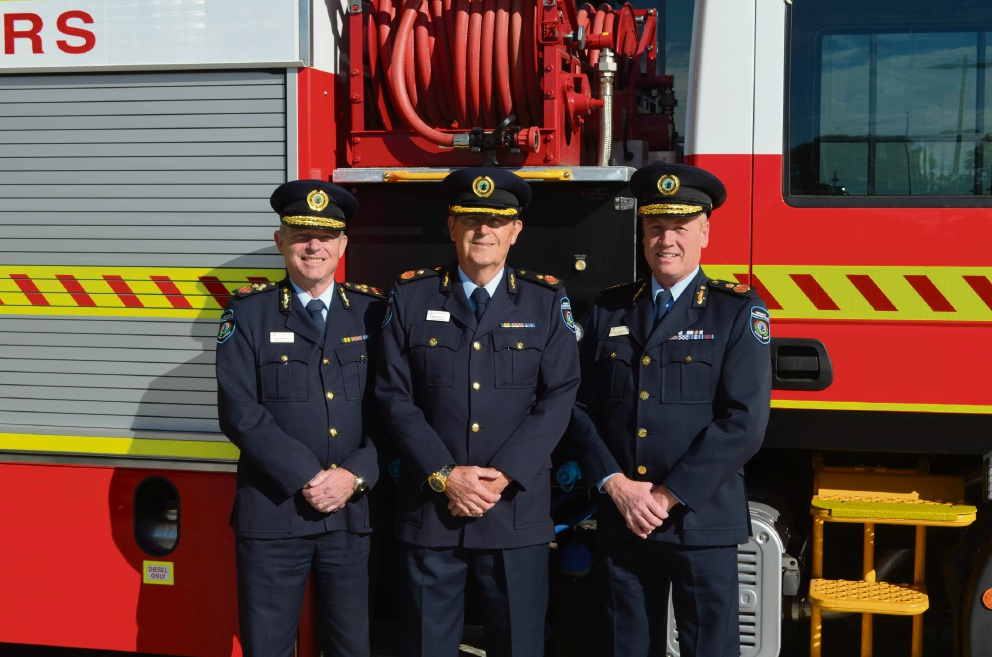 Deputy Commissioner Lloyd Bailey, Rob Cox (former Chief Superintendent Bushfire Risk Management) and Fire and Emergency Services Commissioner Wayne Gregson.