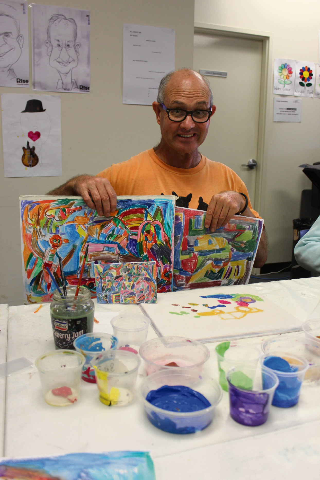 Philip Bascombe with some of his art.
