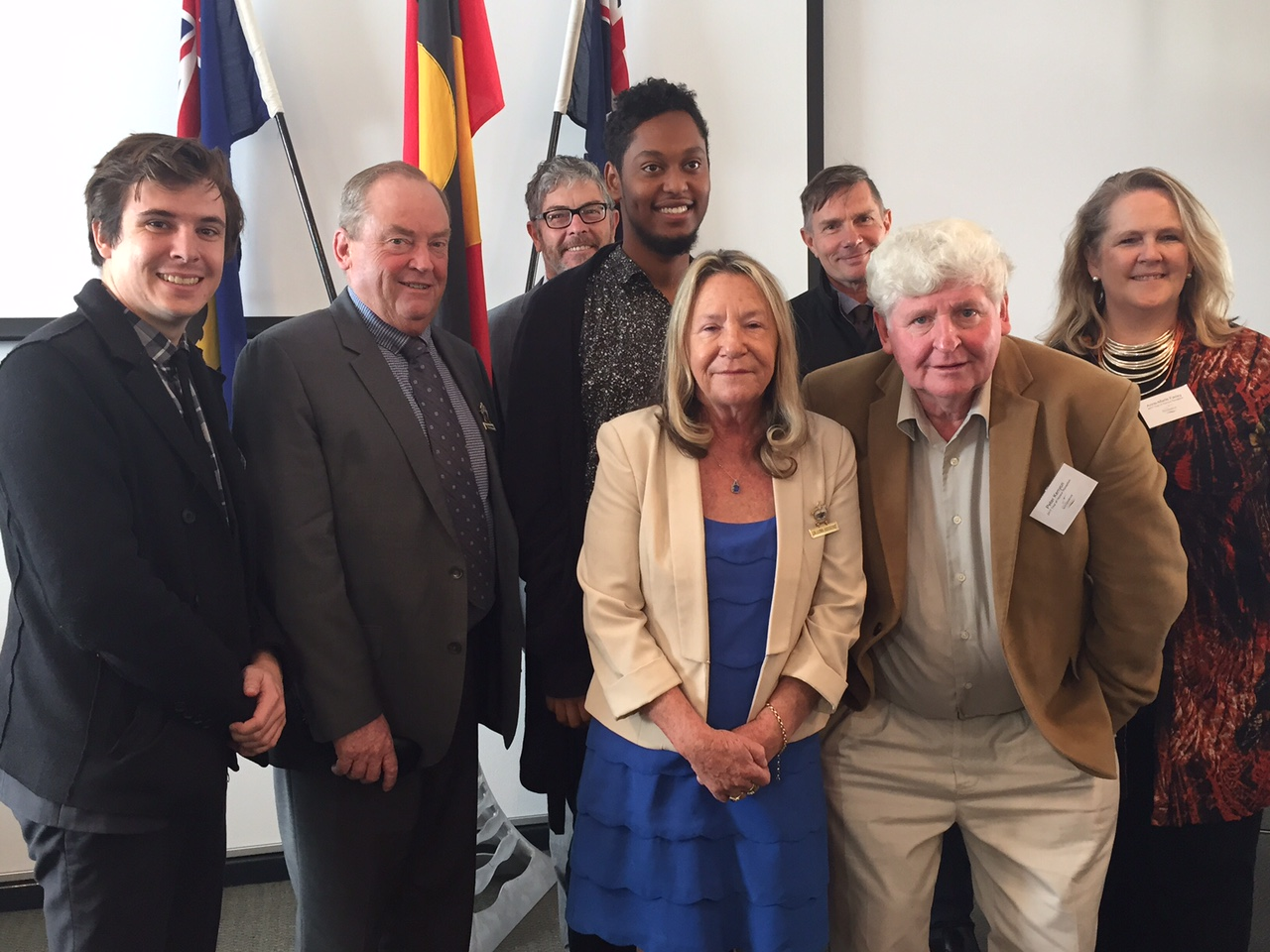 Abdullahi Alim (fourth left), tour organiser Anne Marie Farley (first right) and Peter Kenyon (front right) with Mandurah City councillors.