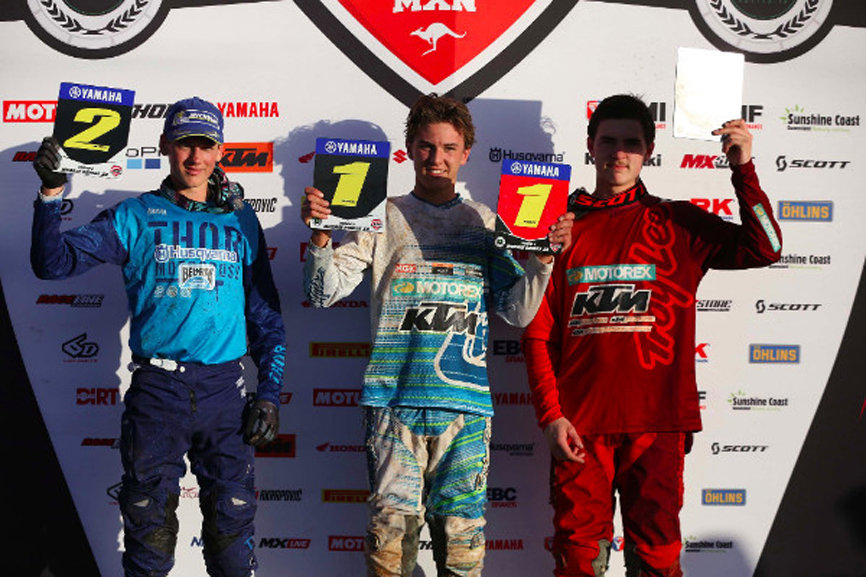 Regan Duffy (centre) won round 2 of the MX National Championship ahead of Bailey Malkiewicz (left) and Mason Semmens (right). Picture: MX Nationals