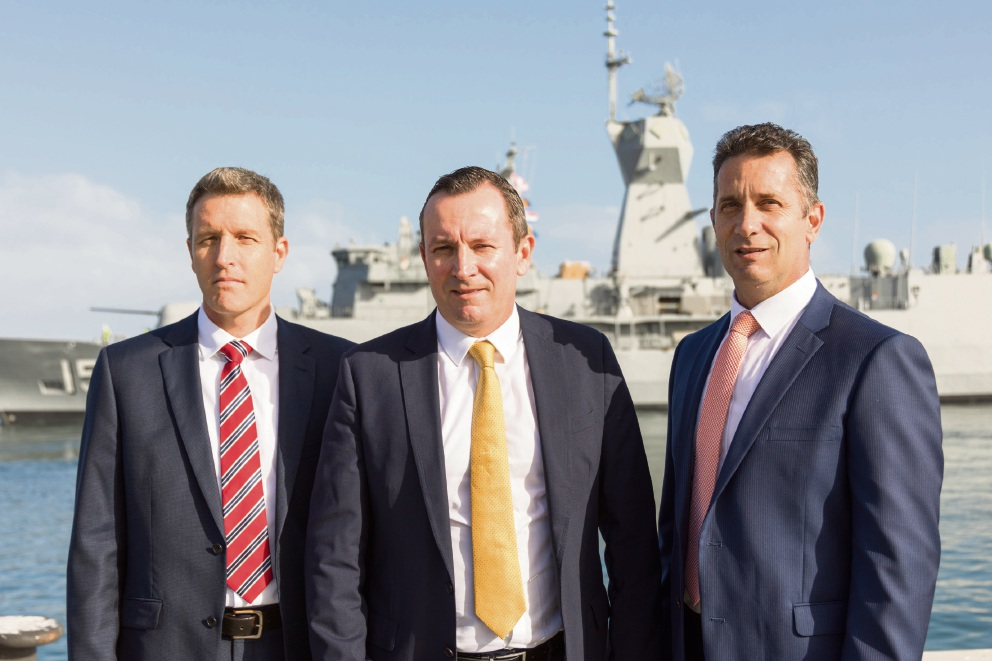 Fremantle MHR Josh Wilson, Premier Mark McGowan and WA Defence Issues Minister Paul Papalia.