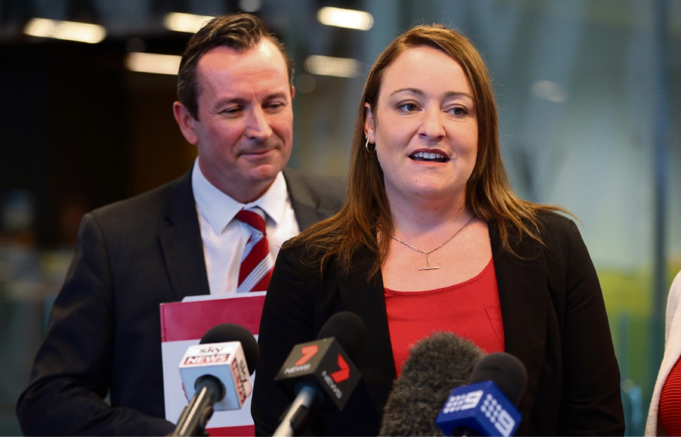 WA Labor leader Mark McGowan with Labor candidate for Joondalup Emily Hamilton. Picture: Martin Kennealey