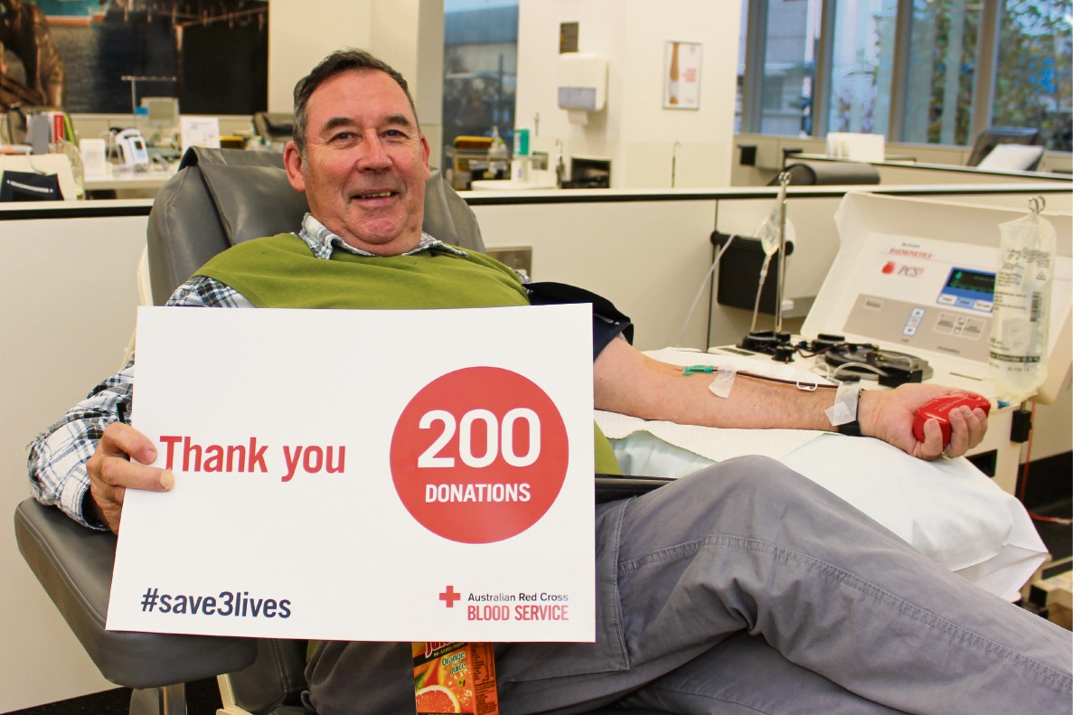Peter Barton has given more than 200 blood donations. Picture: Jess Willet
