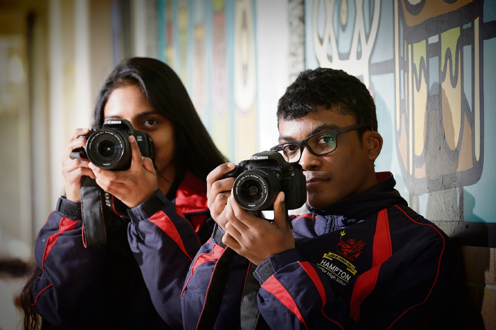Hampton Senior High School's Geena Gill and Jovan Couronne. Picture: Andrew Ritchie d469902