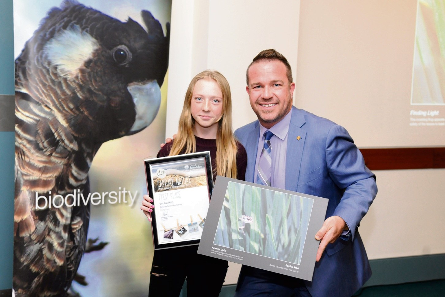 First place winner Sophie Hart. with Mayor Troy Pickard. Picture: Chris Kershaw