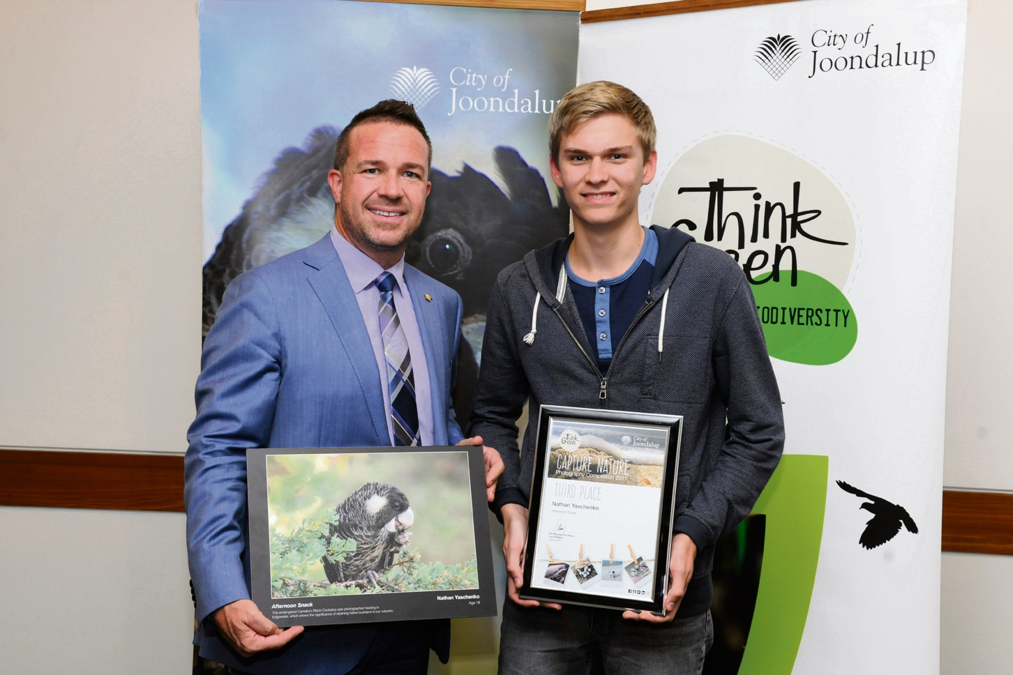 Third place winner Nathan Yaschenko with Mayor Troy Pickard. Picture: Chris Kershaw