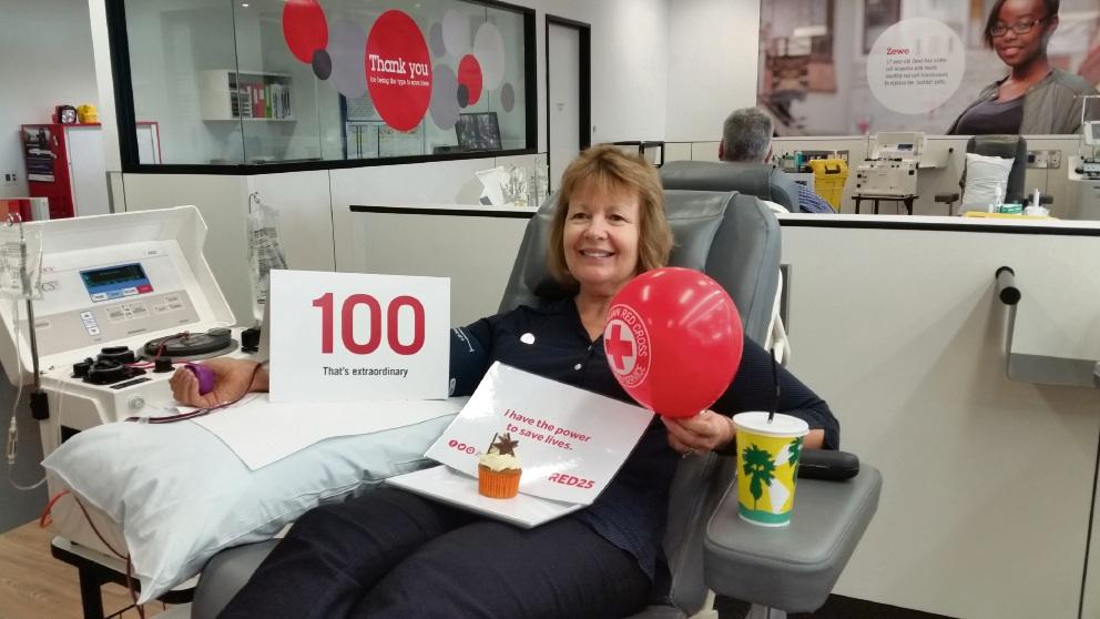 Chris Le Juge De Segrais recently made her 100th blood donation.