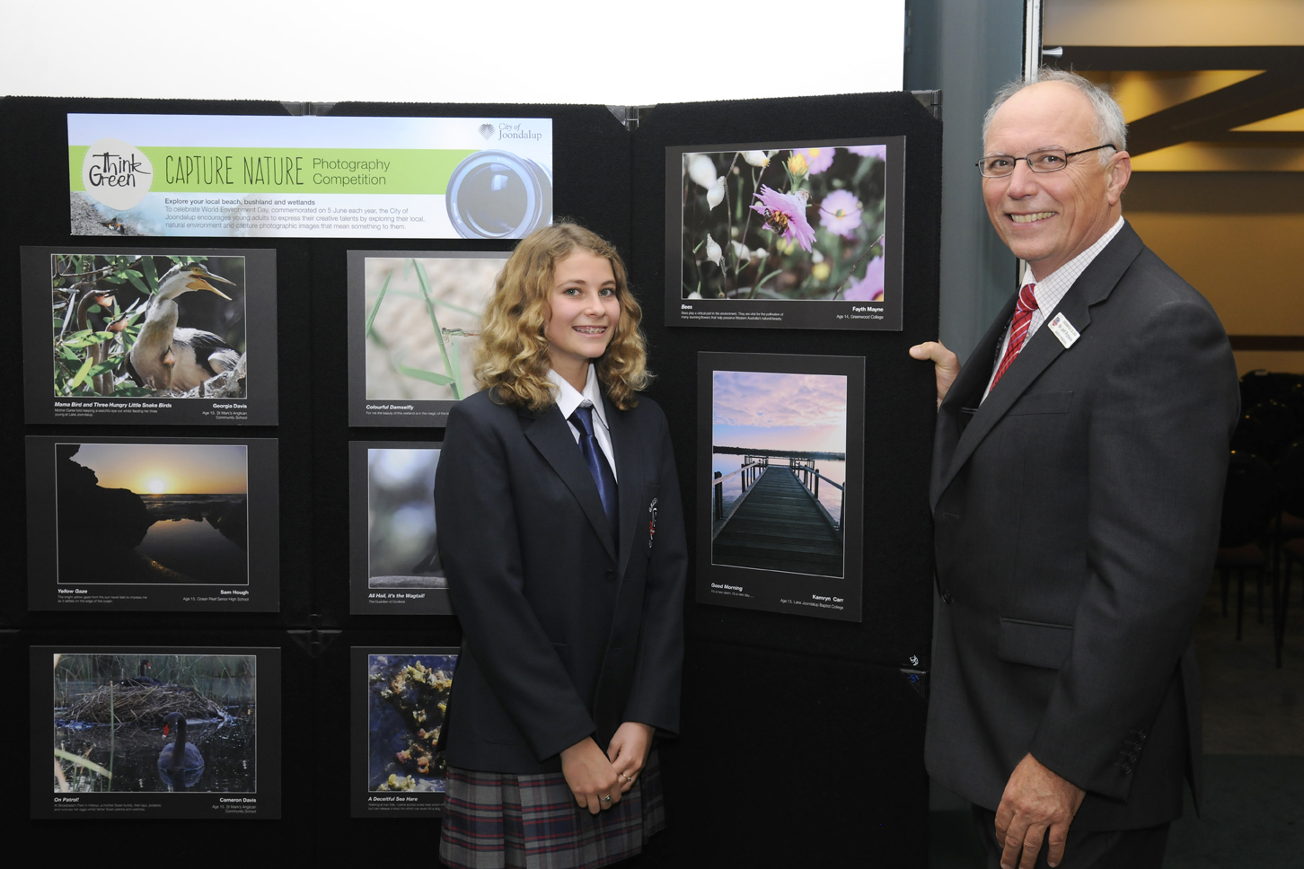 Fayth Mayne from Greenwood College pictured with her image Bees (top right). Picture: Chris Kershaw