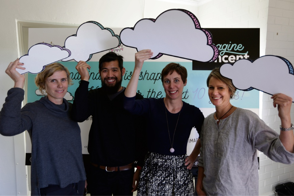 Business owner Marg O'Connell, Fahmi Ahmad (Perth Mosque), Mayor Emma Cole and resident Kat Popp at the launch of the Imagine Vincent campaign. Picture: Andrew Ritchie ������� d470239