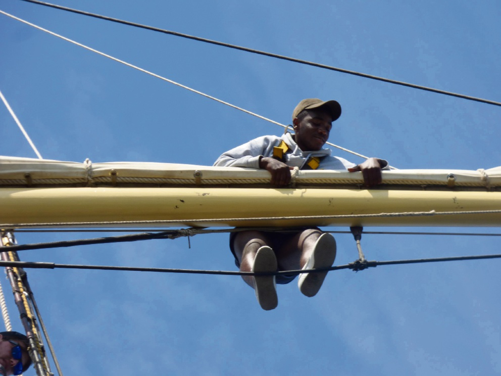 Nelson Tshongo climbed the rigging during his trip aboard the STS Leeuwin II.