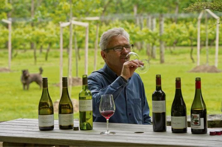 Ata Rangi founder Clive Paton wine tasting at Ata Rangi, Martinborough, New Zealand.