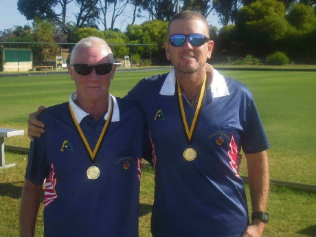 State Pairs Championship winners Leith Oldham and Shane Loftus.