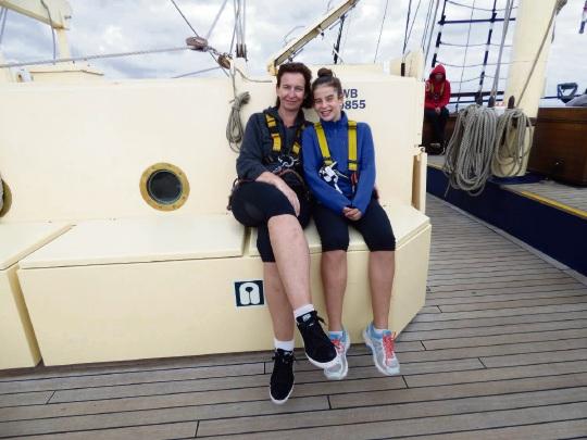 Carol (left) and daughter Siena Crevacore onboard STS Leeuwin II.