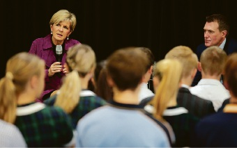 Foreign Affairs Minister Julie Bishop and Pearce MHR Christian Porter at the Pearce Young Leaders Forum. Picture: Martin Kennealey