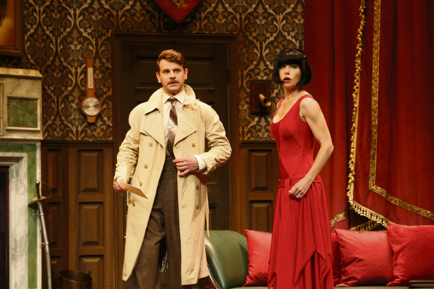 Nick Simpson-Deeks and Brooke Satchwell in The Play That Goes Wrong.