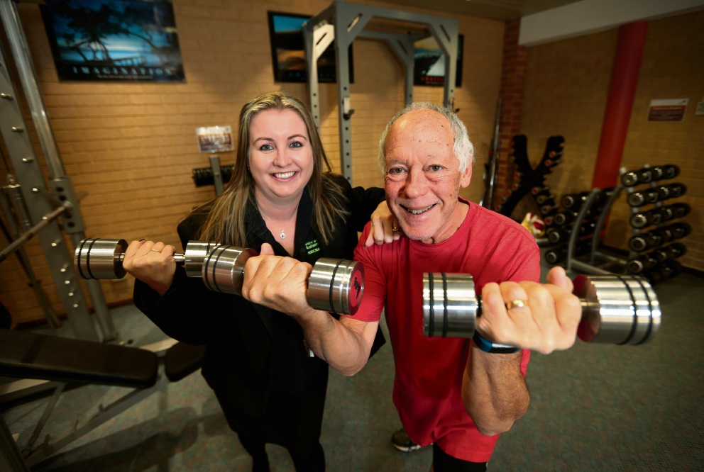 Darlene Wrigley (Recreational Facility Health and Fitness Officer at High Wycombe Recreation Centre) and gym member Ron Dyer of High Wycombe. Picture: David Baylis d470411