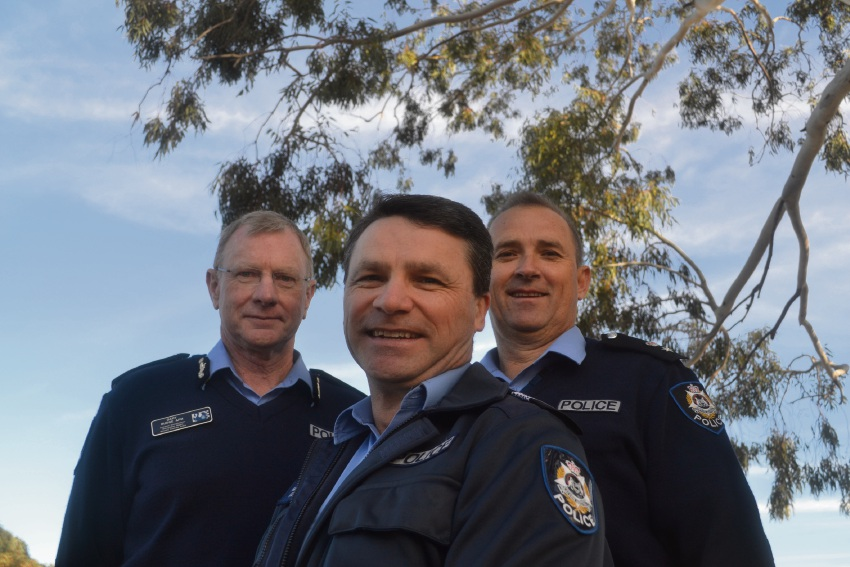 Assistant Commissioner Metropolitan Region Gary Budge, Senior Sergeant and Armadale Police Station officer in charge Glenn Spencer and South East Metropolitan Superintendent Brad Sorrell.