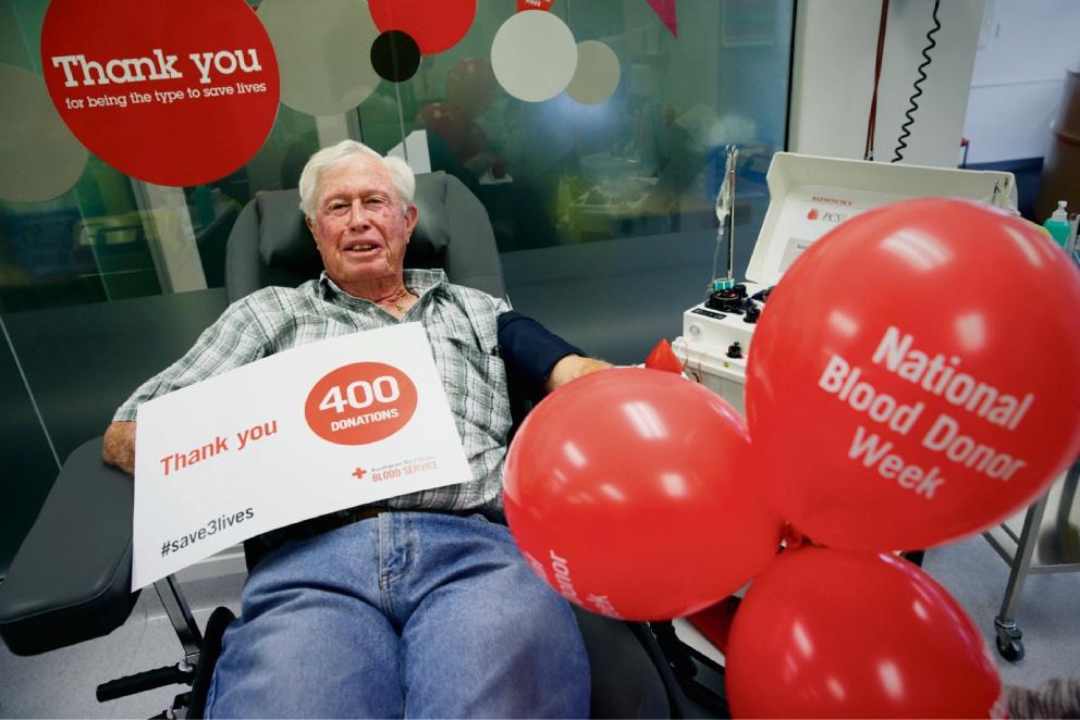 Morley resident Neville Lewis has donated blood a whopping 400 times and has been recognised for his efforts. Picture: Andrew Ritchie d470416