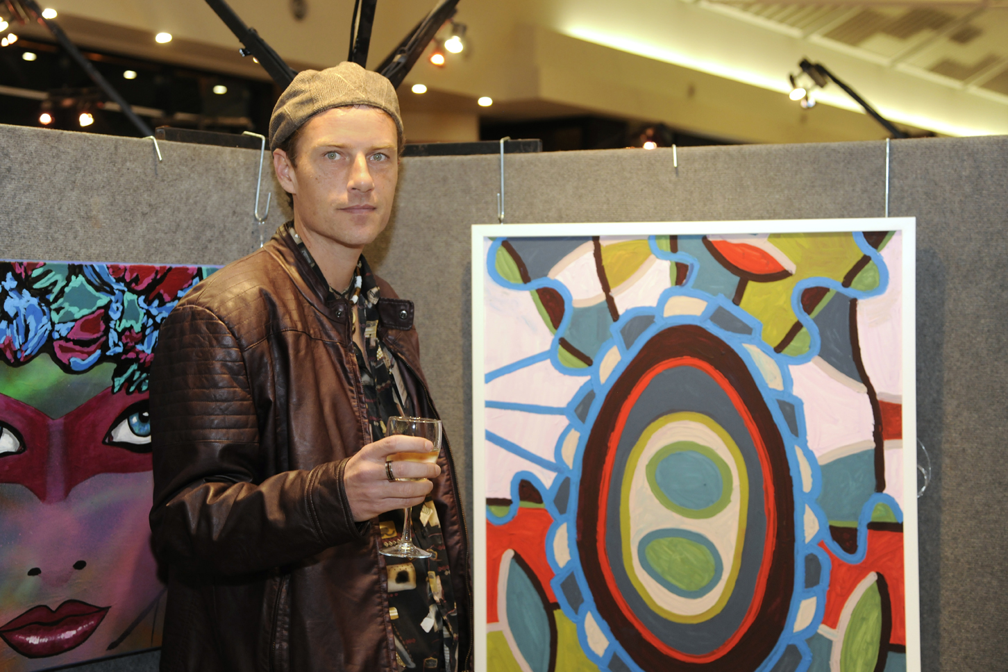 Rafal Markowski and his artwork. Picture: Chris Kershaw