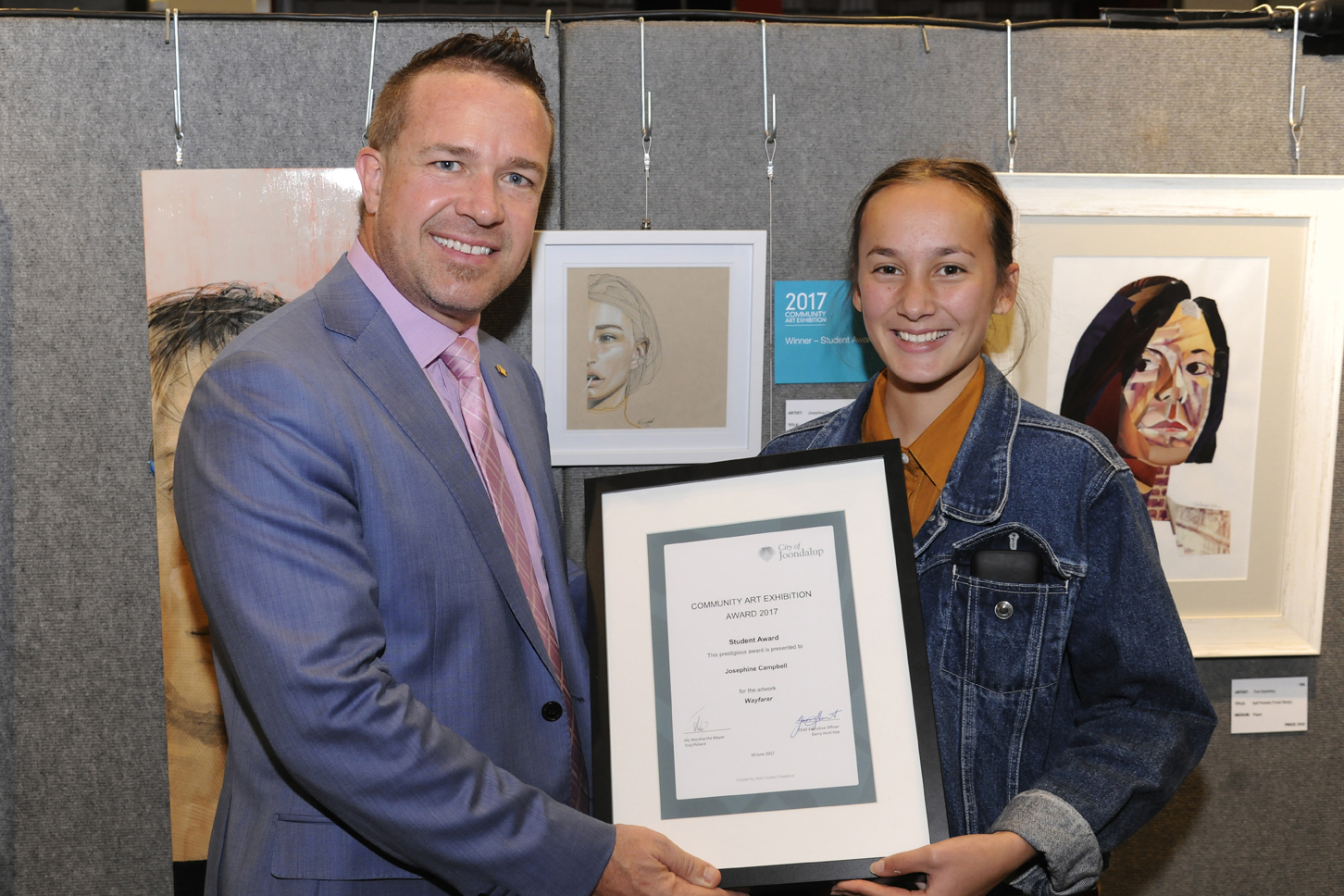 Mayor Troy Pickard and Student Award winner Josephine Campbell. Picture: Chris Kershaw