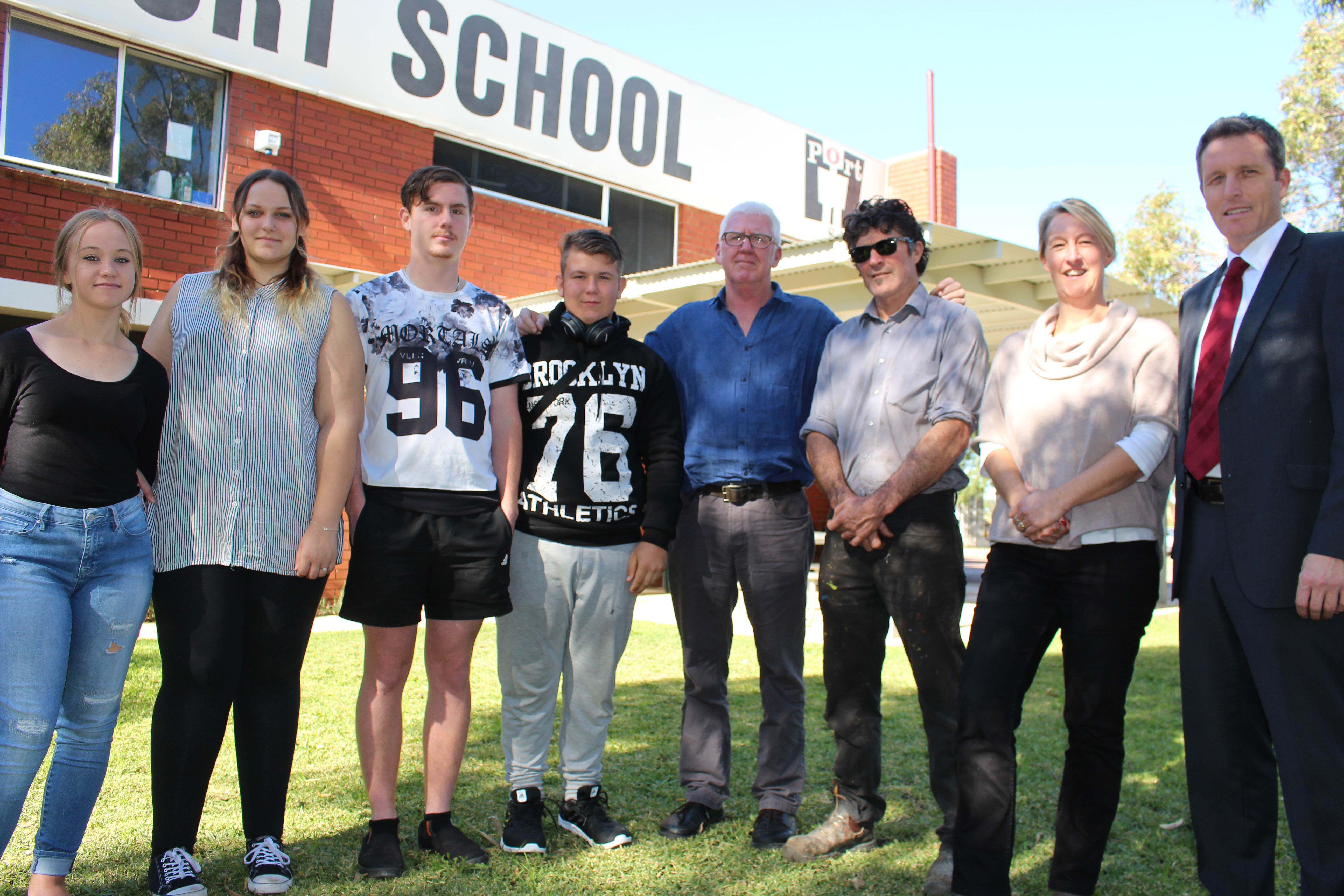 Port School students Georgia Bleach, Hayley O'Neill, Cameron Lloyd and Conor Casserly with principal Barry Finch, mentor Tony Dockerty, Port School VET co-ordinator Steph Daniell and Fremantle MP Josh Wilson.