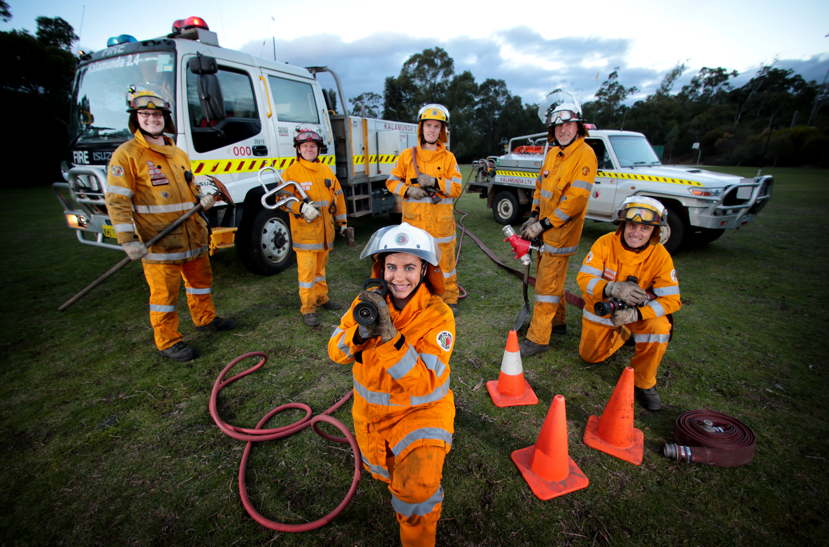 Kalamunda Volunteer Bush Fire Brigade members (back) Duncan Reynolds, David Carroll, Steve Lake, Dave Schwass and Eric Swaby, and (front) Chloe O'Neill.  Picture: David Baylis d470131
