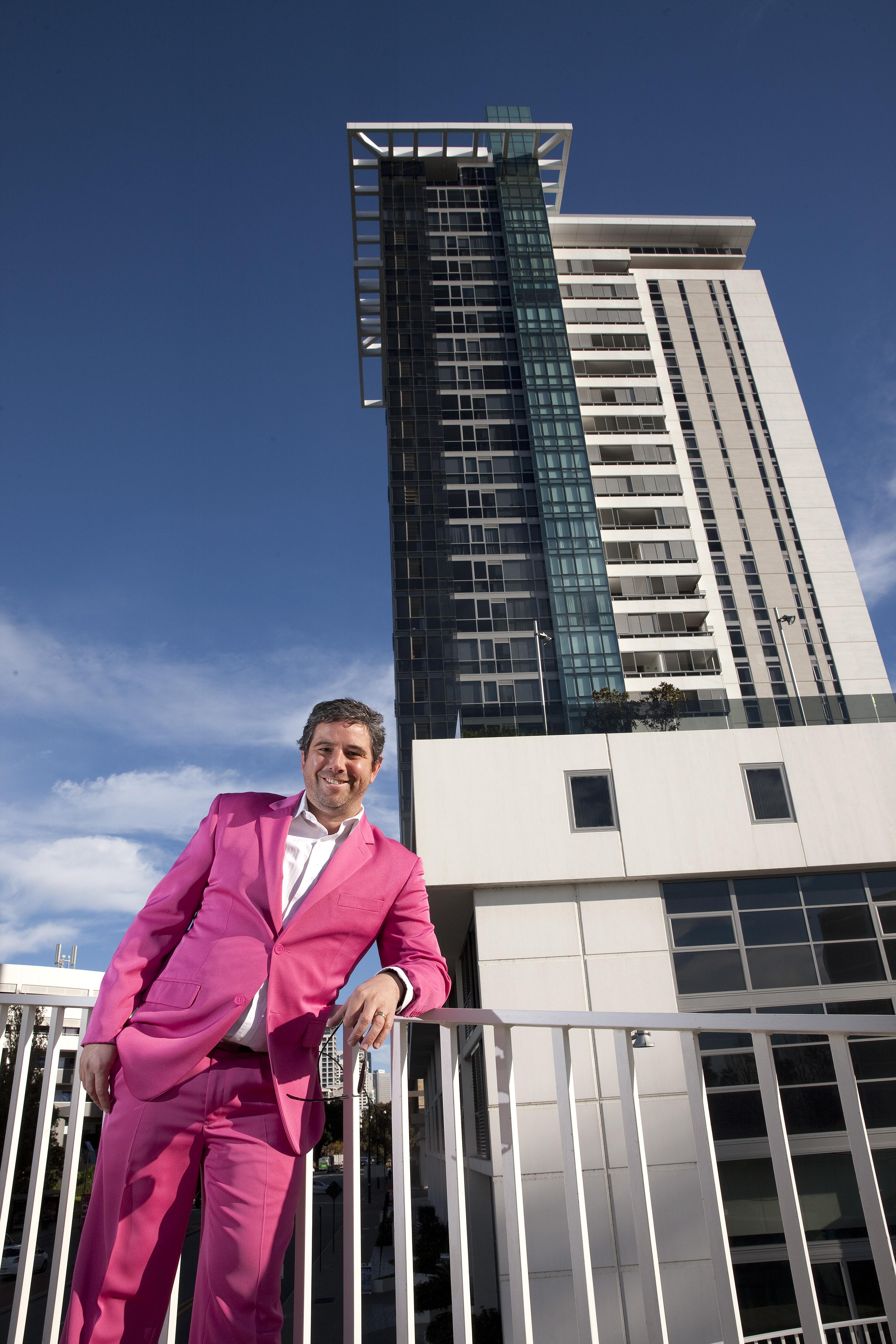 Stuart Gardiner in all his pink splendour.