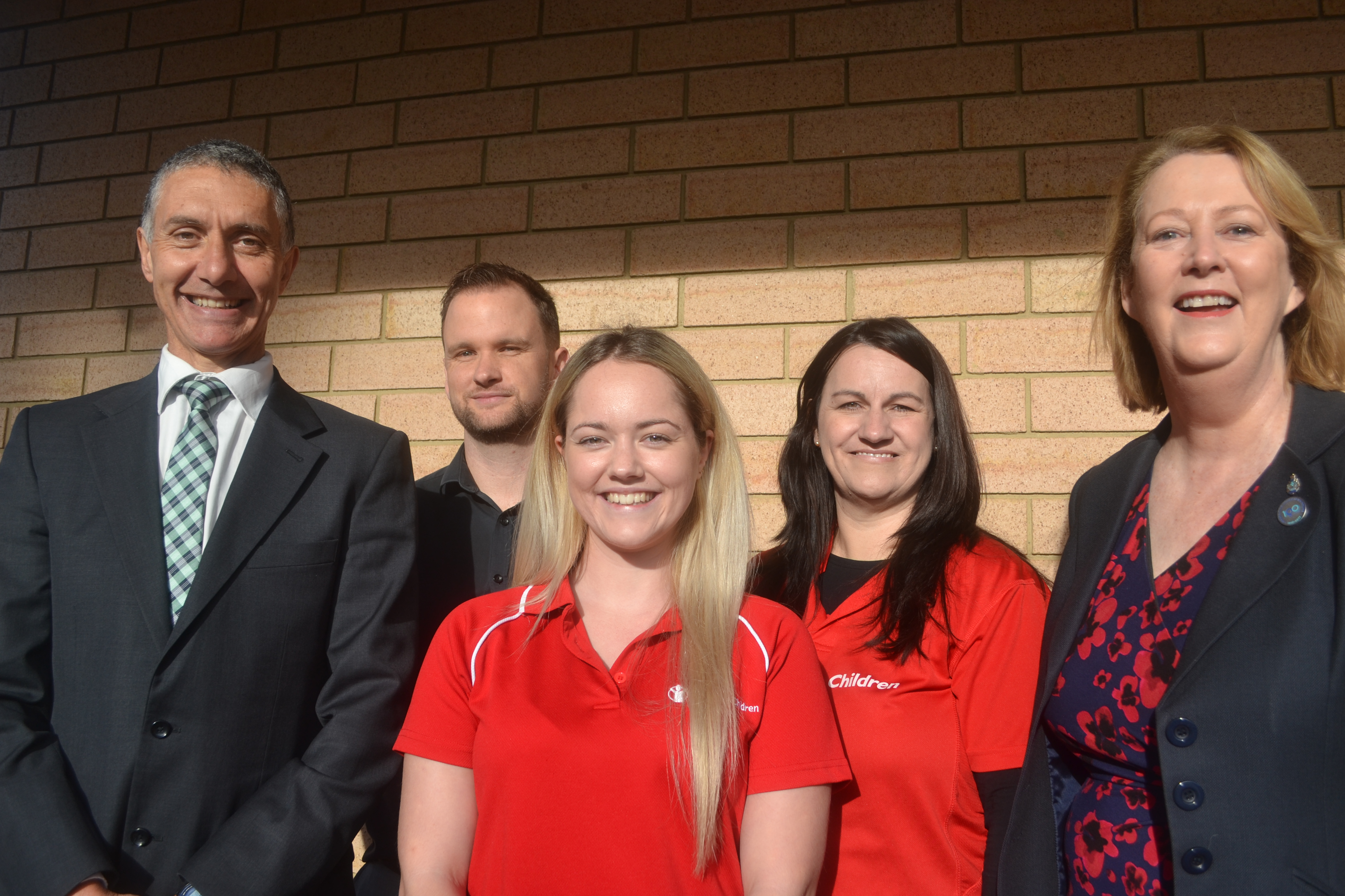 Armadale MLA Tony Buti, youth workers Jamie Barr, Samantha Dragon and Heidi Holmen, and Police Minister Michelle Roberts at the funding announcement for AYIP.