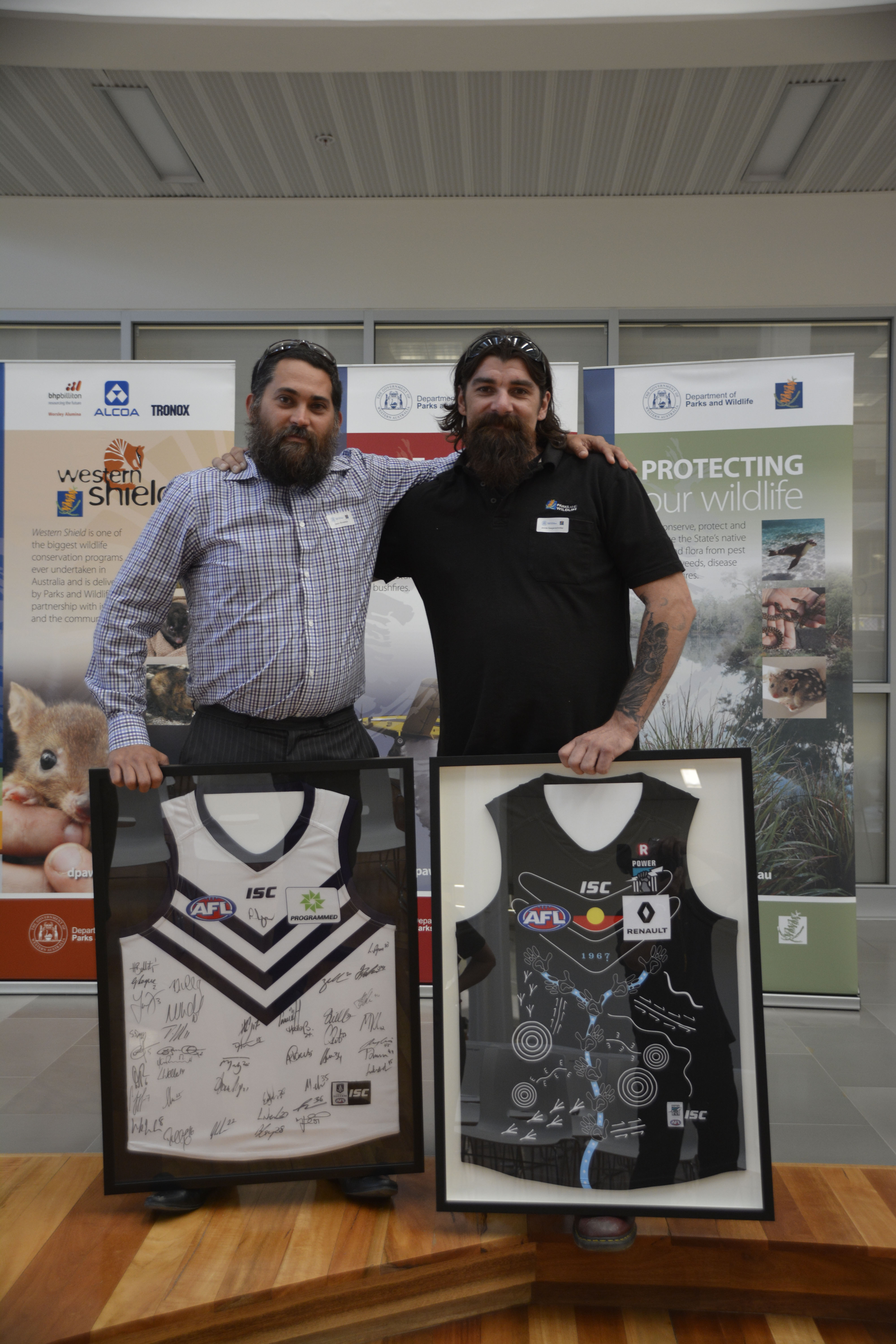 Jonnie Saegenschnitter (right) with the 2017 Aboriginal Trainee of the year Jason Richardson.