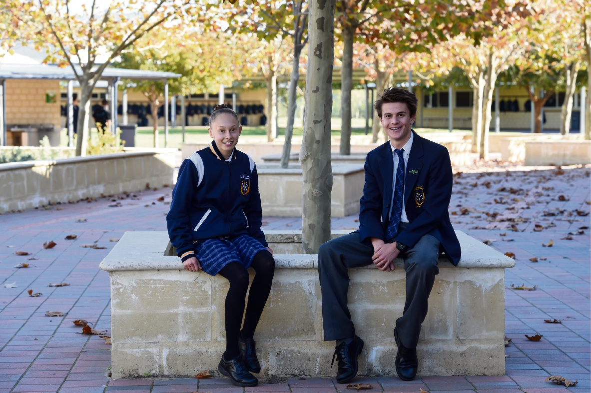 MANDURAH Baptist College Year 12 student Clarissa Herbst was the winner of the HBF 12km run in Perth. With her is Year 10 student Benjamin Barker, who was first in the under-16 category.