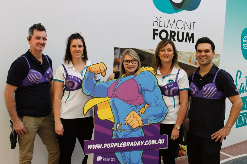 Will Gould, Stacie Thomson, Kate Whytlaw, Julie Elliott and Gavin Haines get ready for Purple Bra Day.