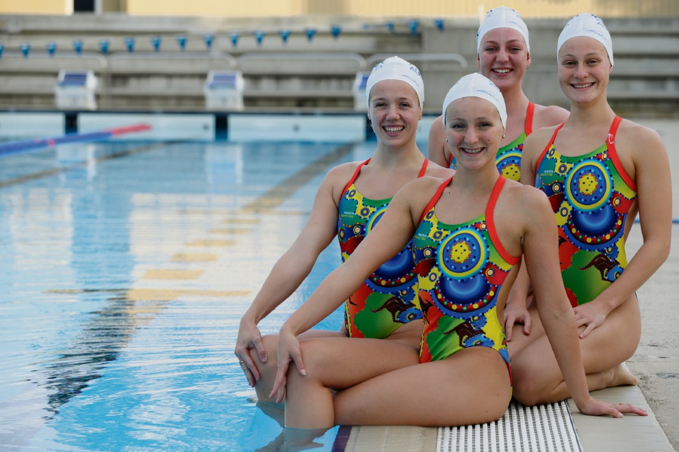 (clockwisefrom front) Amie Thompson, Danielle Kettlewell, Kazia Zenke and Jane Fruznski. Picture: Andrew Ritchie d470452