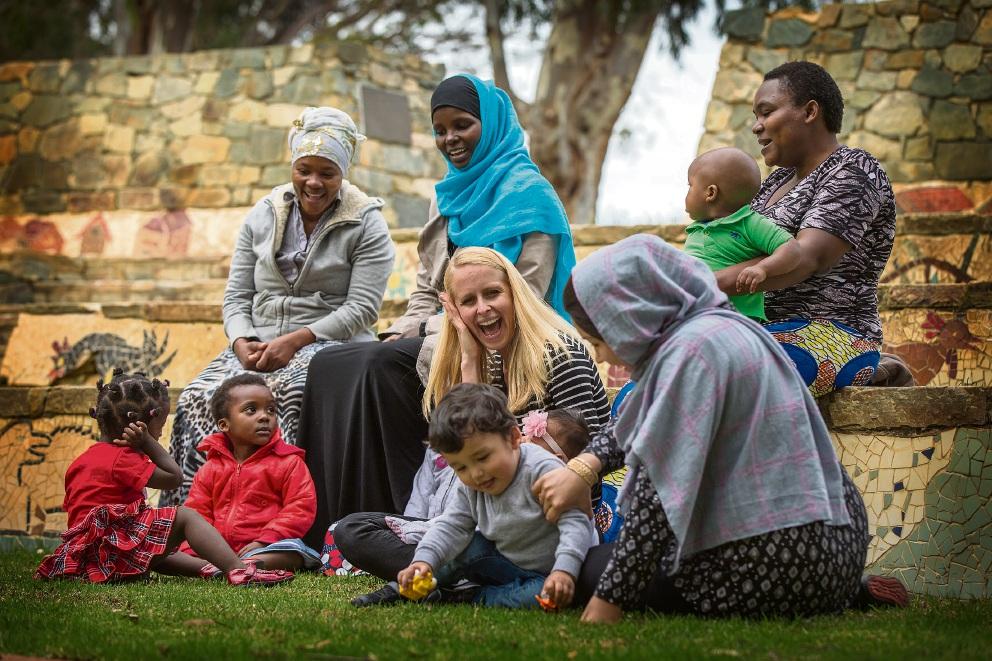 Janet Ndoimana, Hawa Hassan, Anna Lambeck, Amina and Claudine Hagabimana watching over the kids day care group of Marisa Ndoimana, Jimmy, Ella and Juliet Hagabimana, Diana and Hadi Hakimi.