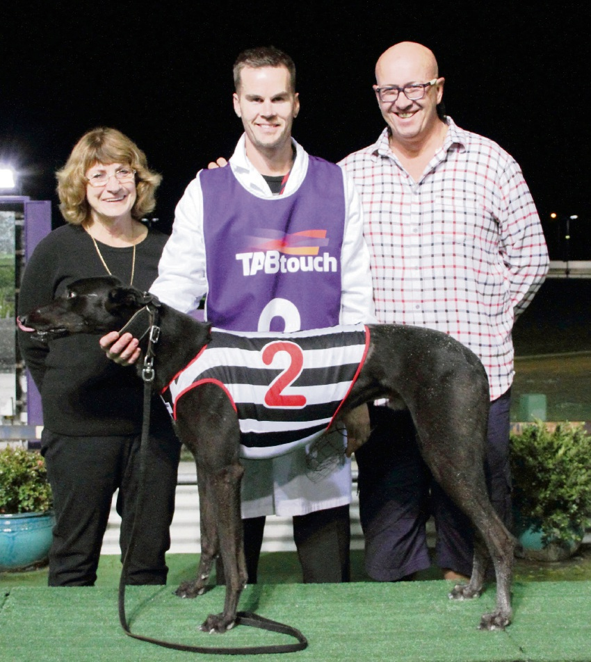 Dandalup Brutus with Carol Moir (owner), Corey White (trainer) and David Bow.