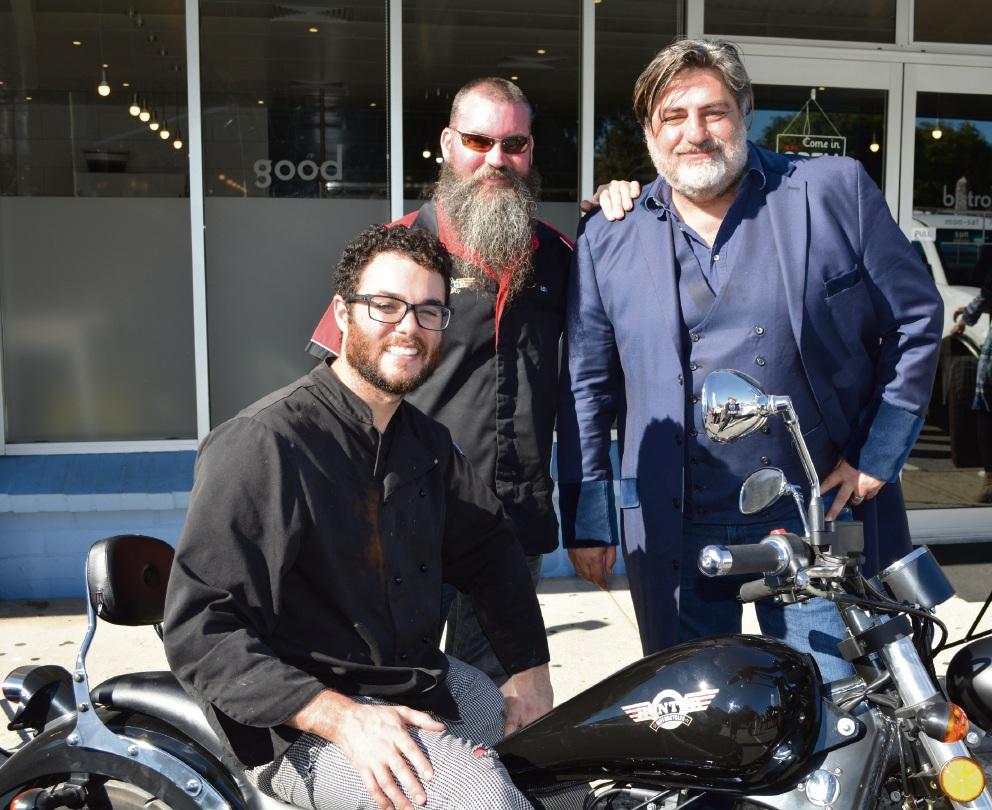 Benjamin Bullock, Hunter Motorcycles' Ben Namnik and MasterChef judge Matt Preston.