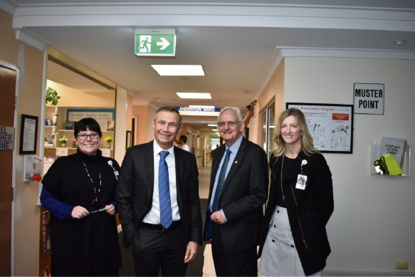 Jo Harris, co-ordinator of nursing, Kalamunda DCH,  Health Minister Roger Cook, Kalamunda MLA Matthew Hughes  and Shae Seymour, executive director of Armadale Kalamunda Group, EMHS.