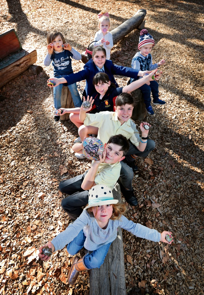 BACK ROW L-R: Reid Mavay (4), Amber Neylon (2), Rory Neylon (3).  FROM FRONT TO BACK SEATED: Aria Hughes (3), Angus Parker (9), Reggie Parker (10), Bonnie Parker (11) and Maddy Parker (12).  Picture: David Baylis   d470193