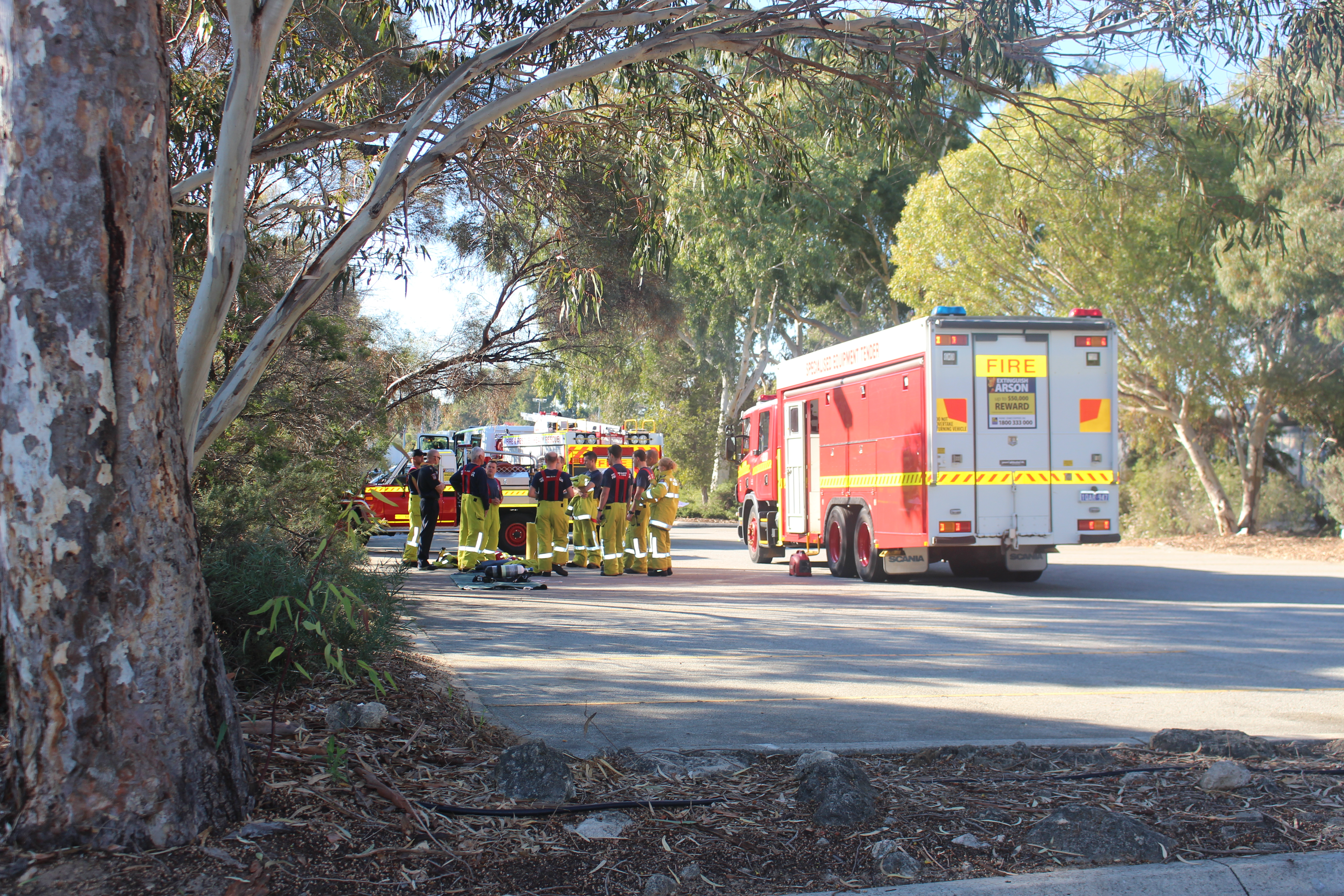 DFES attending a chemical spill in a science building at the Tafe campus in Murdoch. Photo: Jaime Shurmer