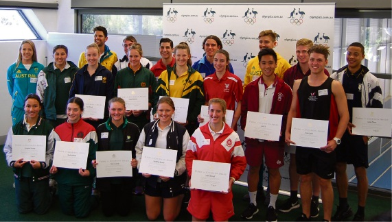 Santa Maria College student Keely Hebiton (front row, second from left) received a Pierre de Coubtertin award from the Australian Olympic Committee.