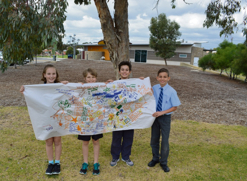 North Morley Primary School student Piper Gage, West Morley Primary School student Sienna Chapman, Yokine Primary School student Arya Meshka Hazrati and St Denis School student Aiden Nicolaou.