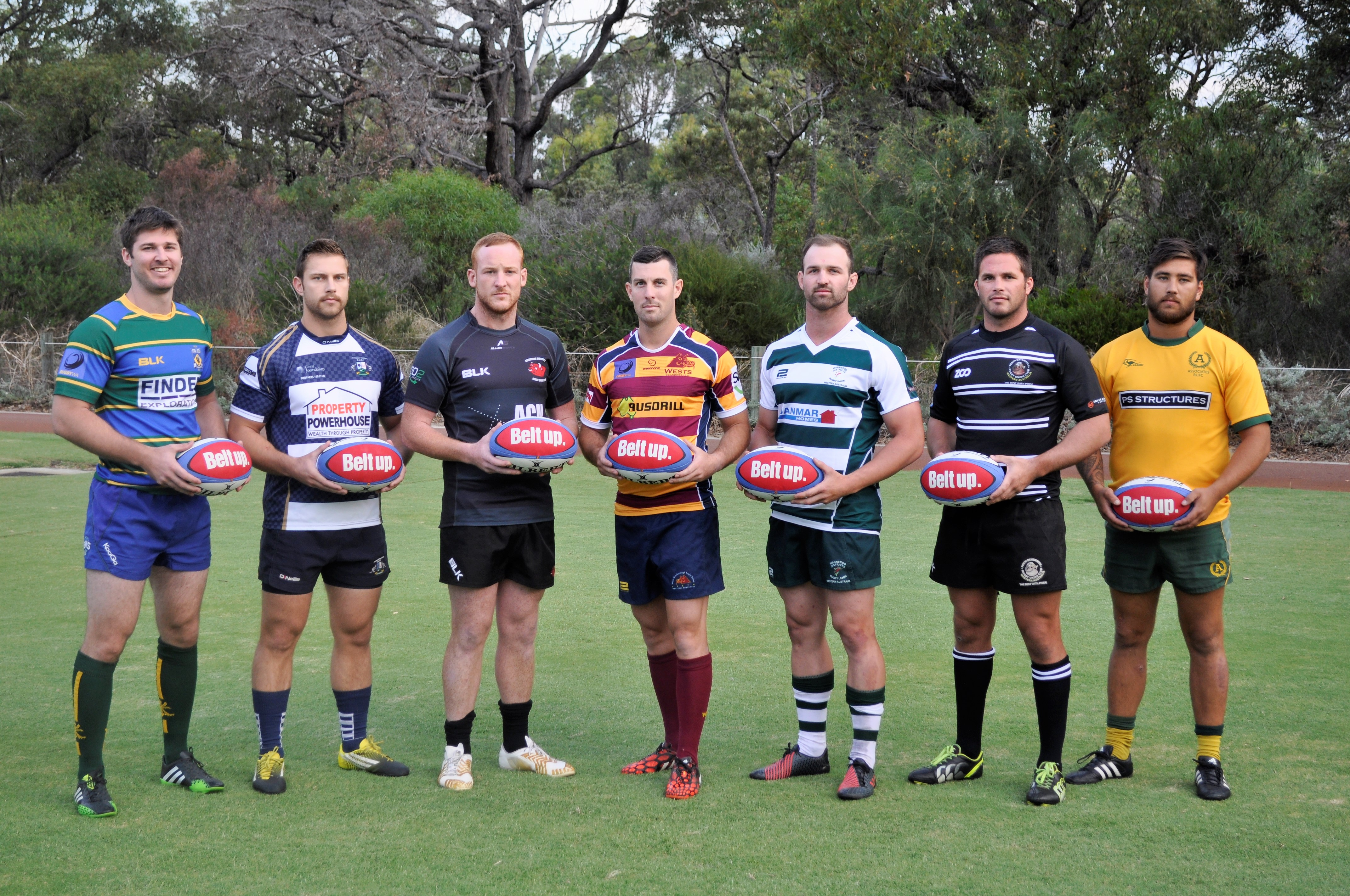 The RugbyWA club captains promote Belt Up Round. Picture: RugbyWA/Supplied