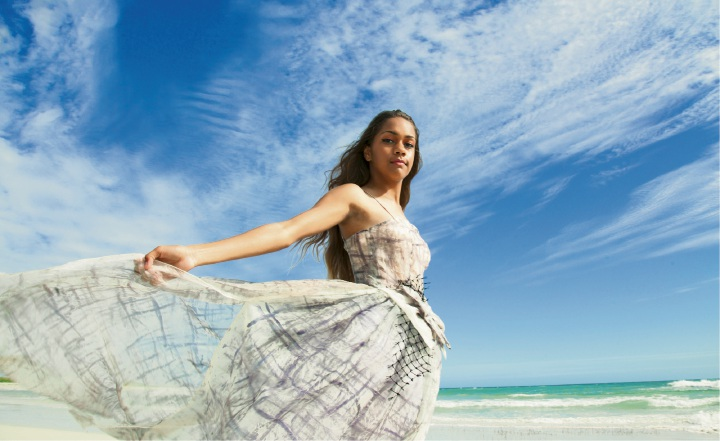 Shontaye Kickett, from Xpressions Models, is the face of the inaugural Eco Fashion Week Australia. Picture: David Collins