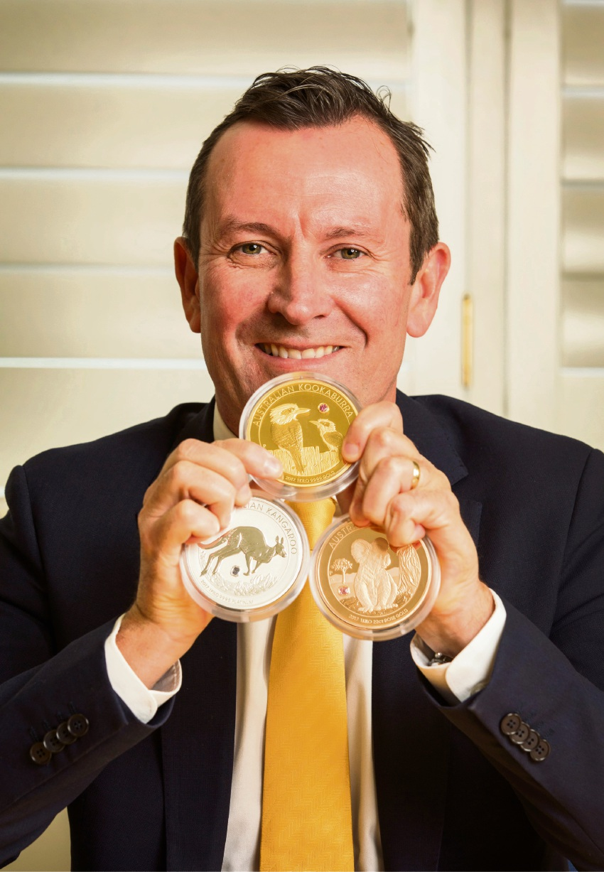 Premier Mark McGowan with Perth Mint's $1.8 million Australian Trilogy coins.