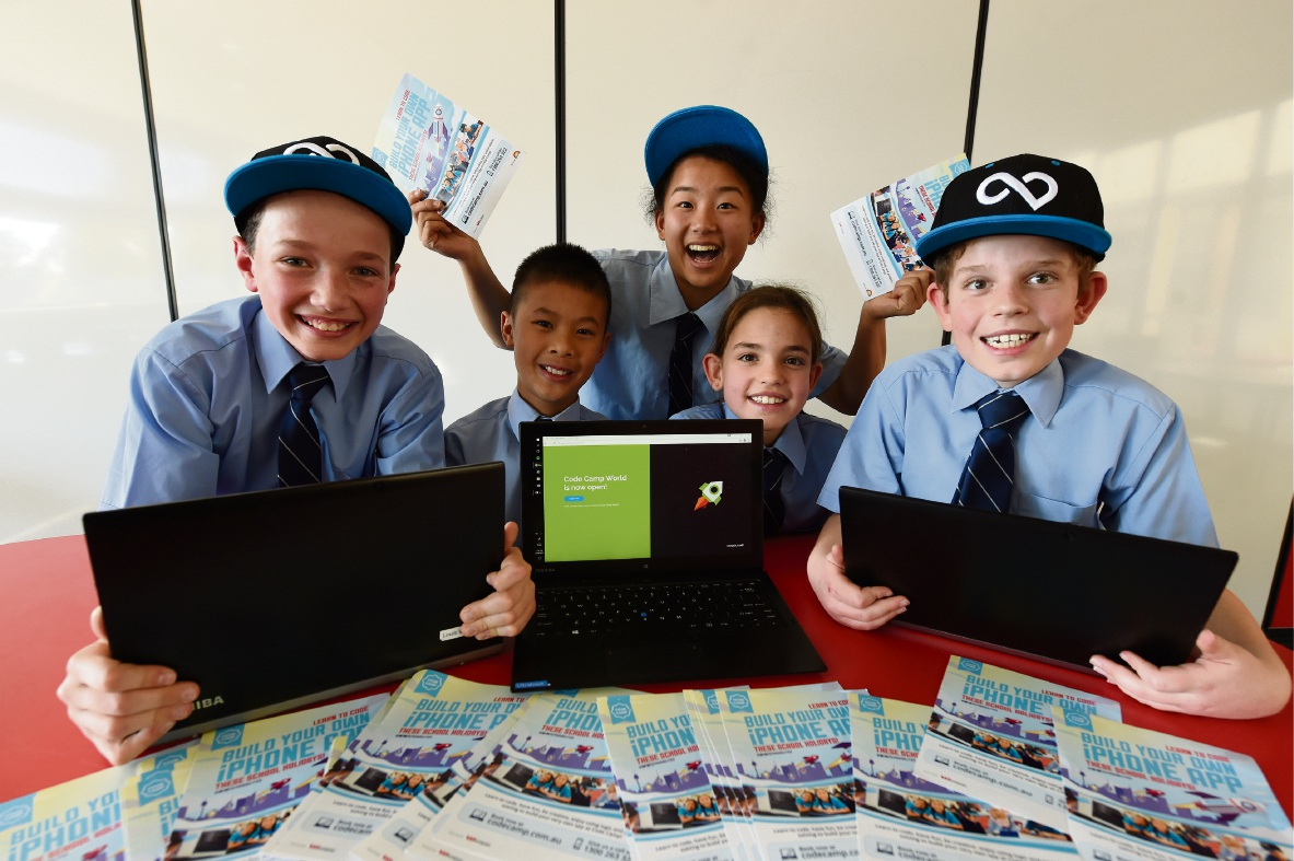 Students Harrison O'Dea-Credrao, Louis Wong, Ashley Tsang, Penelope Duff and David Duff are looking forward to Code Camp. Picture: Jon Hewson �������d470344
