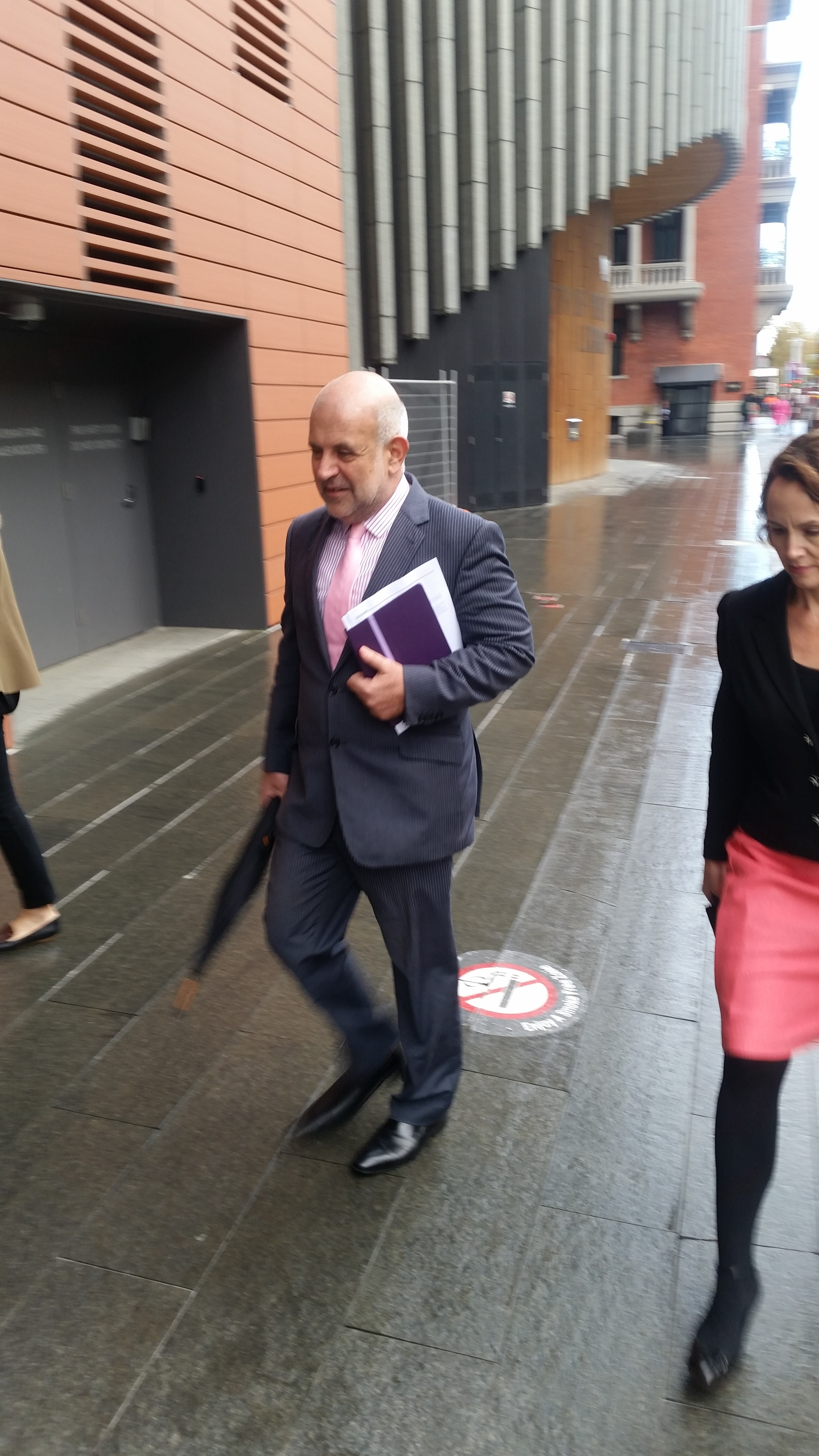 Lisa Scaffidi's lawyer Steven Penglis arrives at the State Administrative Tribunal for day two of the Lord Mayor's penalty hearing. Picture: Giovanni Torre