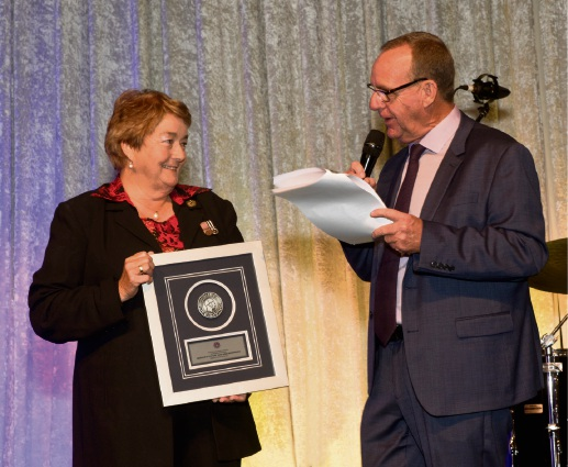 Anne-Marie Widermanski with MC Steve Mills. Picture: Tony Bowers