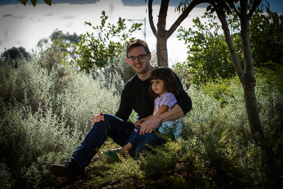 Tobias Busch with daughter Ayana Busch (2). Picture: Will Russell
