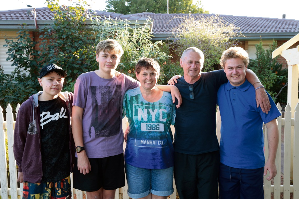 Vicki and Wayne Rudd with their sons Jack (13), Conrad (12),and Joshua (15). Picture: Martin Kennealey